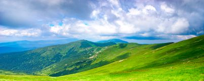 Panoramic view of Carpathian mountains Stock Photo