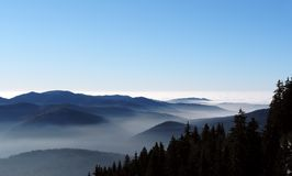 Panoramic view of the Carpathian mountains with clouds in the Ro Royalty Free Stock Photography
