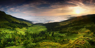 Panoramic view from Carpathians, Ukraine. Sea of clouds in Chornohora Mountains in Carphatians, Ukraine Stock Photo