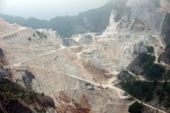 Panoramic view of Carrara marble quarries Royalty Free Stock Photography