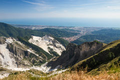 Panoramic view of Carrara's marble quarries in Tuscany, Italy Stock Photos