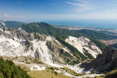 Panoramic view of Carrara's marble quarries in Tuscany, Italy Stock Photography