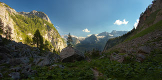 Panoramic view of the carstic mountain valley, Berchtesgaden nat Stock Photography