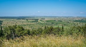 Panoramic view from Castel del Monte, famous medieval fortress in Apulia, southern Italy. Stock Photos