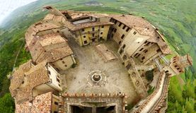 Panoramic view on Castell'arquato, Piacenza, Italy. A panoramic view on Castell'arquato, Piacenza, Italy stock images