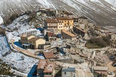 Panoramic view of Castelluccio di Norcia destroyed by earthquake of Norcia. In Umbria, Italy, Europe Royalty Free Stock Images