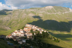 Panoramic view of Castelluccio di Norcia village Stock Images