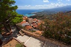 Castelmola, Sicily, Italy  - Panoramic view from Castelmola at  Mediterranean sea and volcano Etna Royalty Free Stock Photos