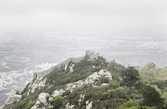 Panoramic view of the Castelo dos Mouros. Detail of an old castle in Sintra, medieval art and architecture Stock Image