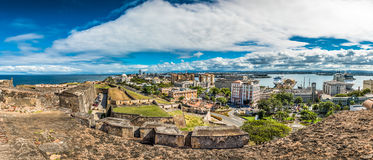 Panoramic view from Castillo de San Cristobal Royalty Free Stock Photos
