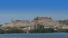 Panoramic view of Castillo San Felipe de Barajas is a fortress in the city of Cartagena Royalty Free Stock Photos