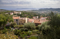 Panoramic view from castle at Bormes les mimosas Royalty Free Stock Photo