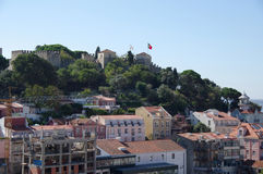 Panoramic view of the castle and central Lisbon Royalty Free Stock Photos