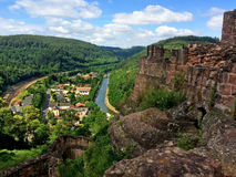 Panoramic view of the castle Lutzelbourg Stock Photo