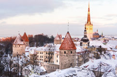 Panoramic view of the castle and the old town of Tallinn from the observation deck in winter Stock Images