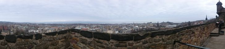 Panoramic view from the Castle Rock. Edinburgh's Castle Rock is the most famous attraction in the city Stock Image