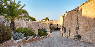 Panoramic view of the castle Santa Barbara. The ruins the chapel and out the fortress. Alicante, Spain. Royalty Free Stock Image