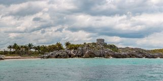 Panoramic View of The Castle at Tulum Ruins from the Ocean. Quintana Roo, Mexico stock image