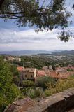 Panoramic view from castle vertical at Bormes les mimosas Royalty Free Stock Images