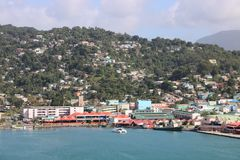 Castries, Saint Lucia. Panoramic view of Castries, the capital of Saint Lucia. In the background typical landscape of this Caribbean island with hills covered Stock Photos