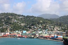 Castries, Saint Lucia. Panoramic view of Castries, the capital of Saint Lucia. In the background typical landscape of this Caribbean island with hills covered Stock Photo