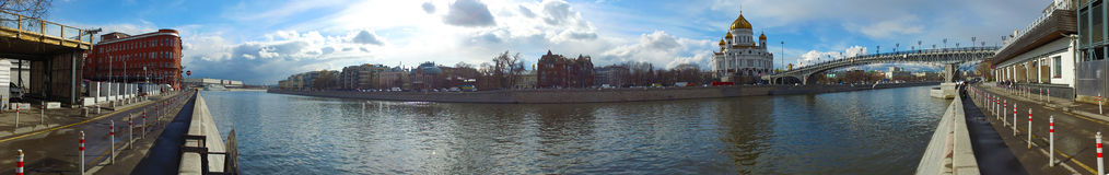 Panoramic view of the Cathedral of Christ the Savior and Patriarch Bridge, Moscow, Russia Stock Photos