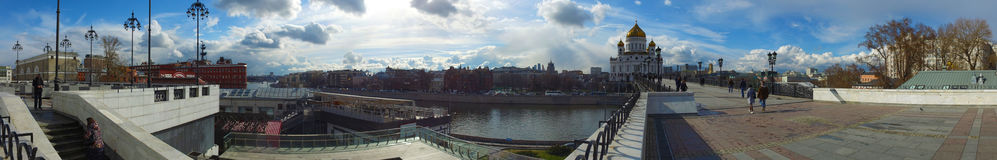 Panoramic view of the Cathedral of Christ the Savior and Patriarch Bridge, Moscow, Russia Royalty Free Stock Images