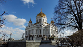 Panoramic view of the Cathedral of Christ the Saviour and Patriarch Bridge, Moscow, Russia Stock Image