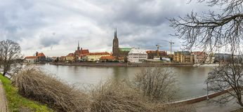 Cathedral Island and Oder river in Wroclaw, Poland Stock Image