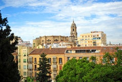 Panoramic view with the Cathedral of Malaga, Andalusia, Spain Royalty Free Stock Photos