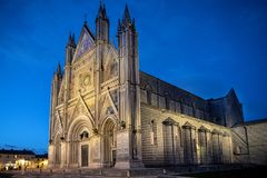 Panoramic view of Cathedral of Orvieto Duomo di Orvieto, by night. Umbria, Italy stock images