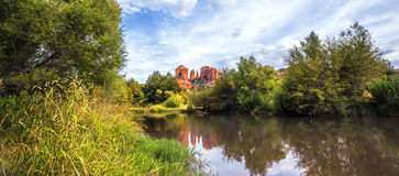 Panoramic view of Cathedral Rock Royalty Free Stock Photography