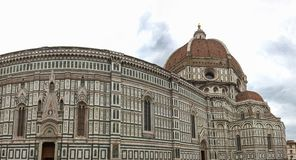 Panoramic view of the Cathedral of Santa Maria - Del - Fiore in Florence, Italy stock photography