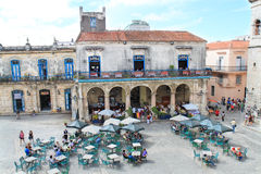 Panoramic view of Cathedral Square, Havana stock photos