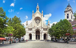 Panoramic view of catholic church in Place Ste. Catherine in Bru. Ssels, Belgium. Bright sunny summer day in Europe Stock Photos