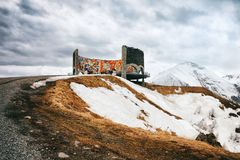 Panoramic view on Jinvali Water Reservoir blue lake in Caucasian Mountain in winter. Cross Pass in Georgia. Gudauri District. Sour Royalty Free Stock Photography
