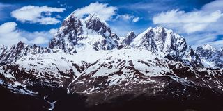 Panoramic view of the Caucasus mountains. Ushba Stock Images