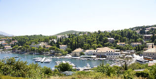 Panoramic view of the Cavtat Port . Stock Image