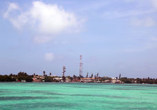 Panoramic view of Caye Caulker waterfront in Belize Stock Photo
