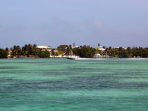 Panoramic view of Caye Caulker waterfront in Belize Royalty Free Stock Image