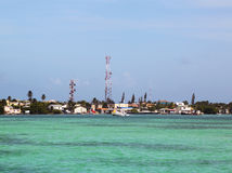 Panoramic view of Caye Caulker waterfront in Belize Stock Photos