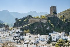 Cazrla village and castle. Panoramic view of Cazorla`s castle Royalty Free Stock Images