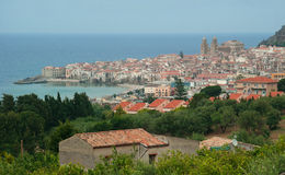 Panoramic view of Cefalu. Royalty Free Stock Photography
