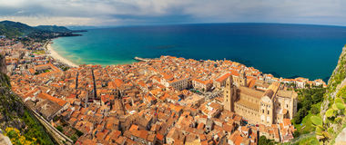 Panoramic view of Cefalu Stock Photo
