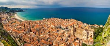 Panoramic view of Cefalu stock photo