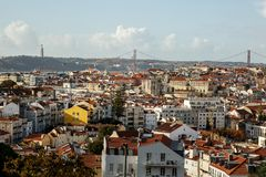 Aerial View Of Downtown Lisbon Skyline Of The Old Historical City, Portugal royalty free stock photos