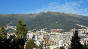 Panoramic view of the central area of the city of Quito with the Pichincha Volcano in background Stock Photography