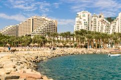 Panoramic view on the central beach of Eilat, Israel stock photography