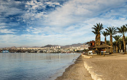 Panoramic view on central beach of Eilat, Israel Stock Photography