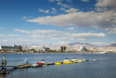 Panoramic view on central beaches of Eilat, Israel Stock Photography